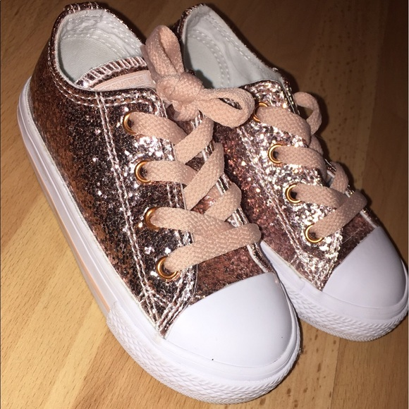 064c8acca023 Converse Other - Converse rose gold sparkle toddler shoes